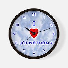 I Love Johnathan (Blue) Valentine Wall Clock