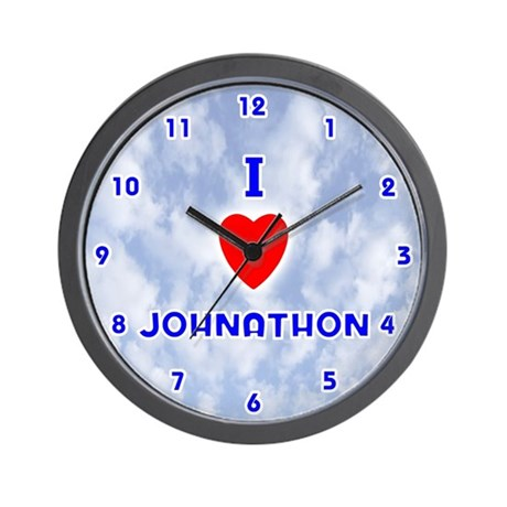 I Love Johnathon (Blue) Valentine Wall Clock