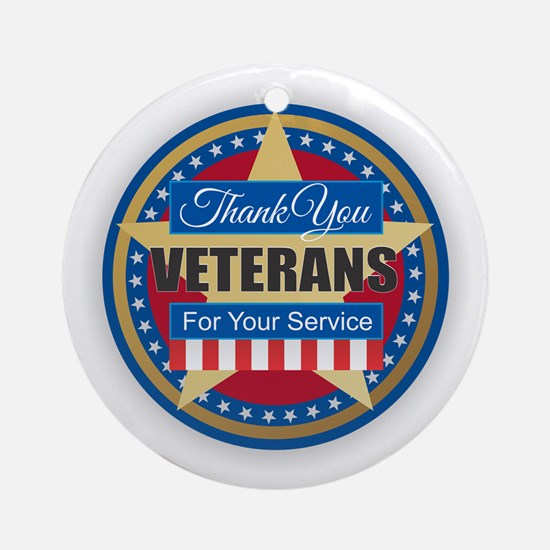 Thank You Veterans Round Ornament