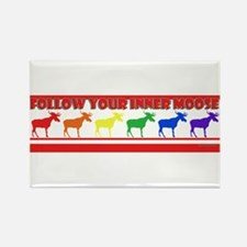 Rainbow Moose Rectangle Magnet