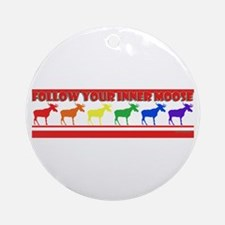 Rainbow Moose Ornament (Round)