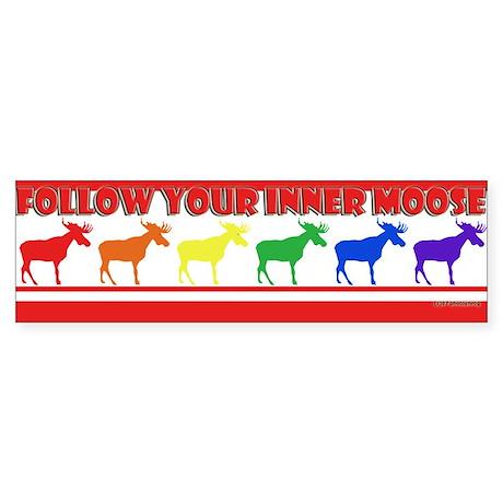 Rainbow Moose Bumper Sticker