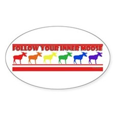 Rainbow Moose Oval Bumper Stickers