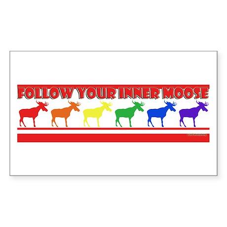 Rainbow Moose Rectangle Sticker
