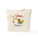 I Love Diggers Tote Bag