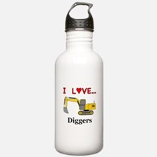 I Love Diggers Water Bottle