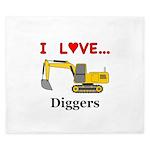 I Love Diggers King Duvet