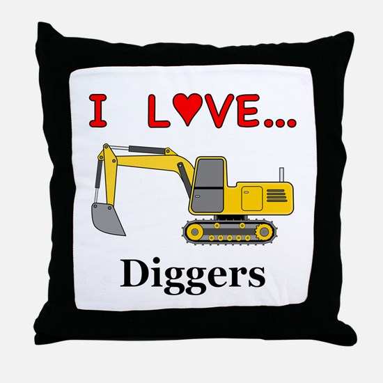 I Love Diggers Throw Pillow