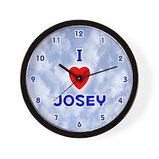 I Love Josey (Blue) Valentine Wall Clock