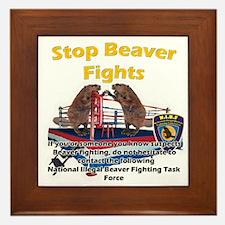Stop Beaver Fights Framed Tile
