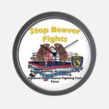Stop Beaver Fights Wall Clock