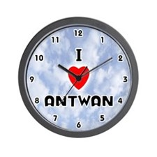 I Love Antwan (Black) Valentine Wall Clock
