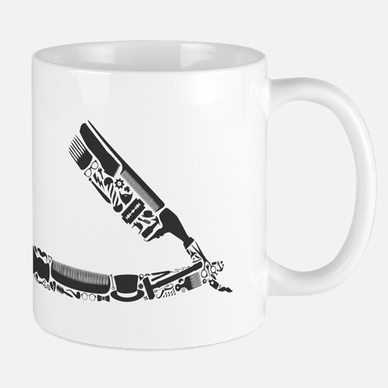 barber razor collage Mugs
