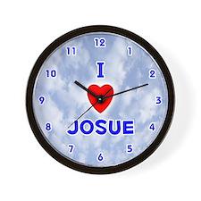 I Love Josue (Blue) Valentine Wall Clock