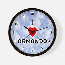 I Love Armando (Black) Valentine Wall Clock