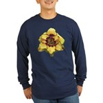 Peach Double Daylily Long Sleeve Dark T-Shirt