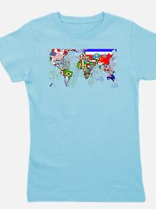 World Flag Map Girl's Tee
