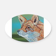 Rainbow Red Fox Oval Car Magnet