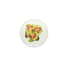 Pink w/ Ruffles Daylily Mini Button (10 pack)