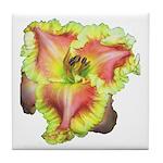 Pink w/ Ruffles Daylily Tile Coaster
