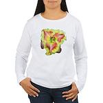 Pink w/ Ruffles Daylily Women's Long Sleeve T-Shir