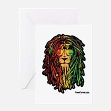 Headphone Lion Greeting Cards