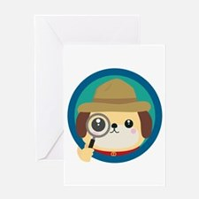 Dog detective with magnifying glass Greeting Cards