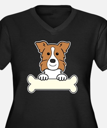 Unique Border collie puppies Women's Plus Size V-Neck Dark T-Shirt