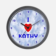 I Love Kathy (Blue) Valentine Wall Clock