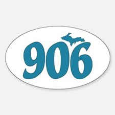 906 Yooper Blue Sticker (Oval)