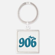 906 Yooper Blue Square Keychain