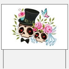 Sugar Skull Bride & Groom Yard Sign