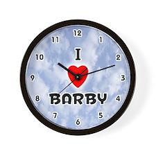 I Love Barby (Black) Valentine Wall Clock