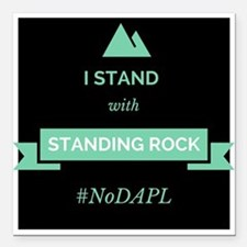 """Standing With Standing Rock Square Car Magnet 3"""" x"""