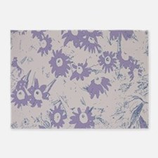 Purple Coneflower with Grey Backgro 5'x7'Area Rug