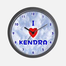 I Love Kendra (Blue) Valentine Wall Clock