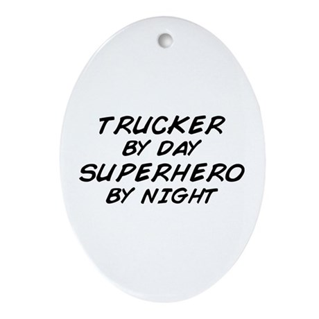 Trucker Superhero Oval Ornament