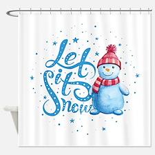 Let It Snowman Shower Curtain