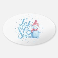 Let It Snowman Sticker (Oval)