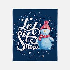 Let It Snowman Throw Blanket