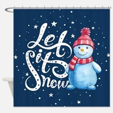 Let It Snowman Shower Curtain
