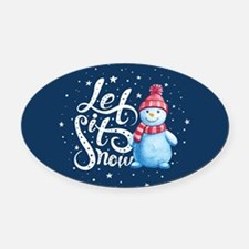 Let It Snowman Oval Car Magnet