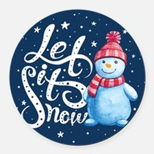 Let It Snowman Round Car Magnet