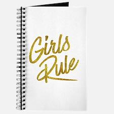 Girls Rule Gold Faux Foil Metallic Glitter Journal