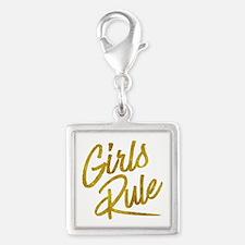 Girls Rule Gold Faux Foil Metallic Glitter Charms