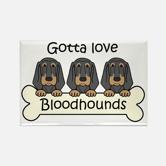 Cute Bloodhound dogs Rectangle Magnet