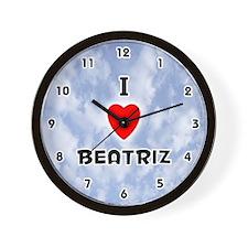 I Love Beatriz (Black) Valentine Wall Clock