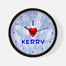 I Love Kerry (Blue) Valentine Wall Clock
