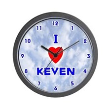 I Love Keven (Blue) Valentine Wall Clock
