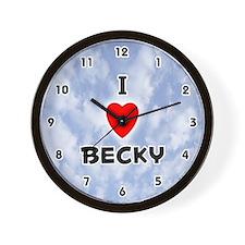 I Love Becky (Black) Valentine Wall Clock